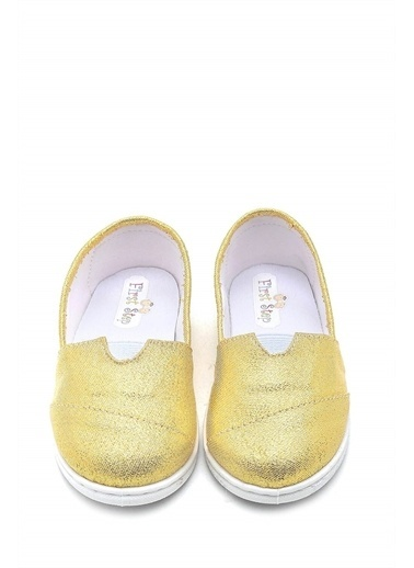 First Step Pullu Toms Çocuk Keten Babet Ayakkabı--F-487 Sarı